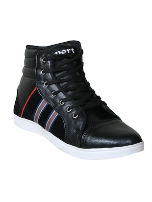 black leatherette lace up sneaker