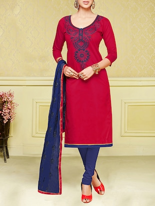red cotton blend churidaar suits dress material