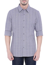 grey cotton checked casual shirt -  online shopping for casual shirts