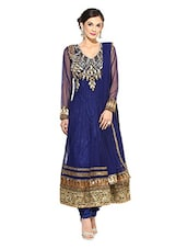 Navy Blue Embroidered Anarkali Net Stitched Suit Set - By