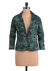 Black And Green Cotton Satin Printed Jacket - By