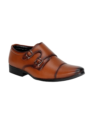 tan leatherette slip on monk strap -  online shopping for Monk Straps