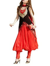 Red And Black Net And Velvet Anarkali Dress Material - By