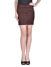 Brown Cotton Printed Stretchable Pencil Skirt - By