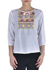 White Rayon Printed Top - By