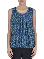 Blue And Green Polyester Printed Sleeveless Top - By