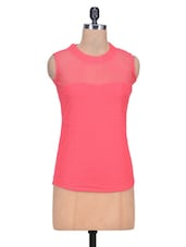Pink Net Plain Top - By