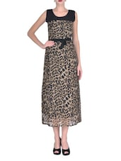 Brown Georgette Printed Party Wear Dress - By