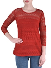Solid Red Net Laced Top - By