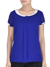 Royal Blue Peter Pan Collared Cotton Top - By