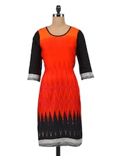 Orange And Black Printed Cotton Kurta - By