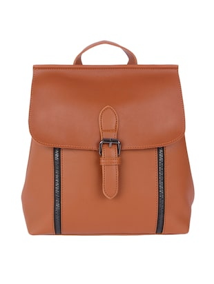brown leatherette backpack