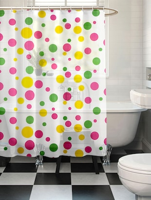 Multicolored Polyester Polka Dotted Shower Curtain