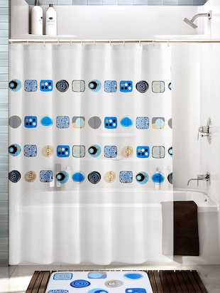 Multicolored Polyester And Cotton Printed Shower Curtain And Bath Mat