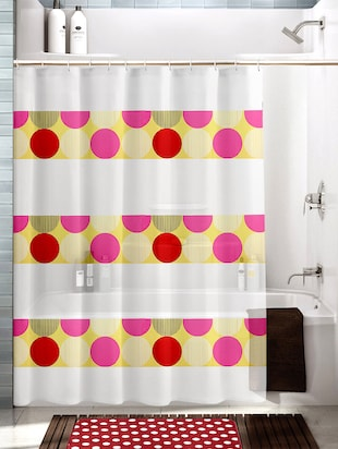 Multicolored Polyester And Cotton Polka Dotted Shower Curtain And Bath Mat