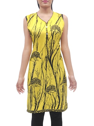 yellow color printed cotton straight kurti -  online shopping for kurtis