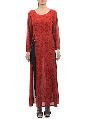 red printed georgette regular tunic -  online shopping for Tunics