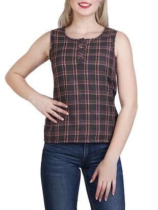 brown cotton regular top