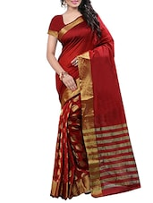 red silk blend woven saree -  online shopping for Sarees