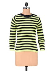 Green Cotton Yarn Dyed Stripes Pullover - By