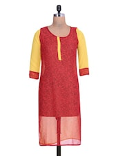 Printed Red And Yellow Georgette Kurta - By
