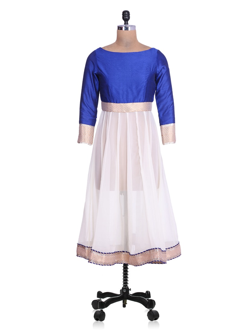 Royal Blue Art Silk And White Georgette Anarkali Kurta - By