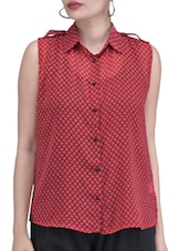 Red Polycrepe  Printed Top - By