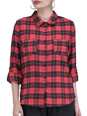 Red And Black Cotton Check Print Shirt - By