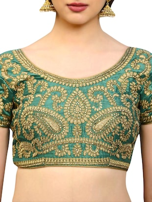 green art silk embroidered blouse