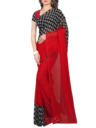 red printed georgette saree