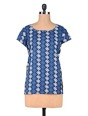 Blue Geometric Printed Cotton Short Kurti - By