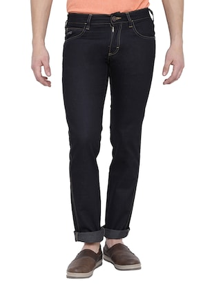black cotton slim jean