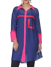 Navy Blue Chiffon Polka Dots Print Kurta - By