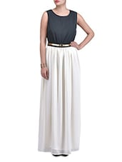 Black And White Sleeveless Maxi Dress - By