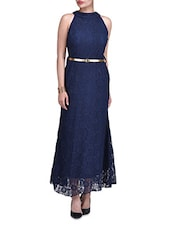 Navy Blue Poly-Lace Halter Neck Gown -  online shopping for Dresses