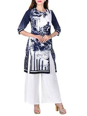 Blue And White Colored Cotton Straight Kurta - By