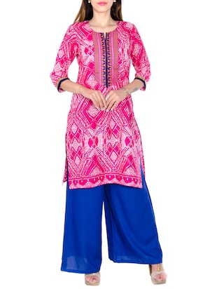 pink bamdhej cotton  straight kurta