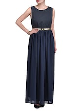 Black Georgette And Polyester Maxi Dress - By