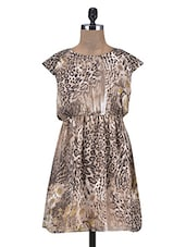 Animal Print Brown Georgette Dress - By