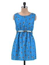 Blue Printed Poly-Crepe Dress - By