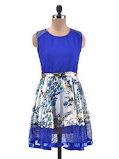 Royal Blue And White Floral Flared Dress - By