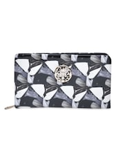 Black Printed PU Leather Clutch - By