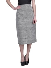 Grey Jute Khadi Midi Skirt - By