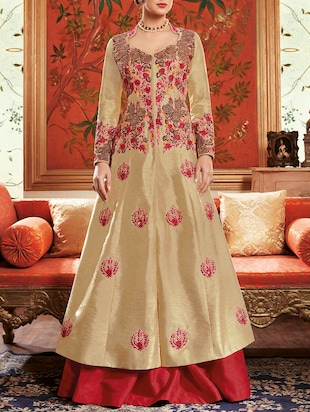 beige silk flared semistitched suit