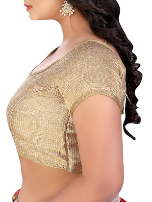 gold brocade synthetic blouse
