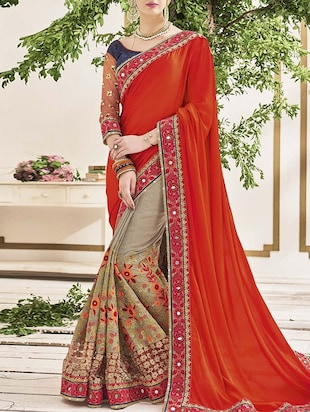 multi colored georgette half and half saree