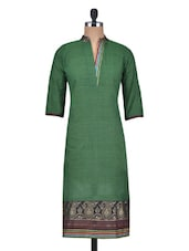 Bottle Green Cotton Printed Kurta - By
