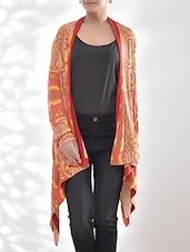 Red Printed Viscose Lycra Jersey Asymmetrical Jacket - By