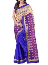 Blue Banarasi Silk Brocade Saree - By