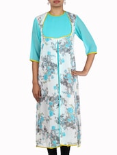 White And Sky Blue Georgette Floral Print Kurta - By